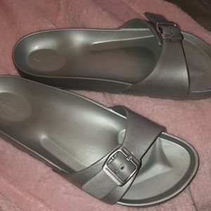 bass silver one strap sandals
